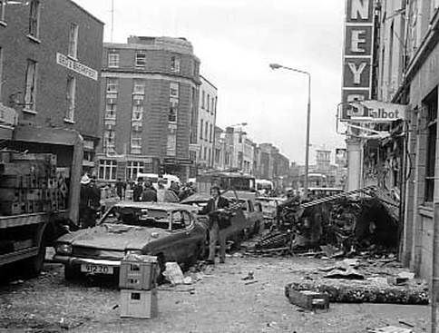 The scene in Talbot Street shortly after the explosion.