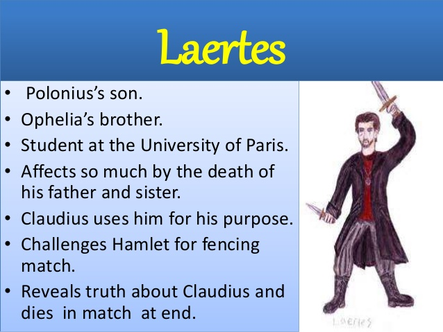hamlet laertes an important character in King hamlet's ghostly visit hamlet's theatrical production polonius's violent death claudius's scheming against hamlet laertes's arrival renders claudius remorseful and contrite laertes's popular support increases claudius's insecurities.